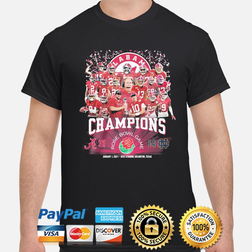 The Alabama Crimson Champions Rose Bowl Game january 1 2021 shirt