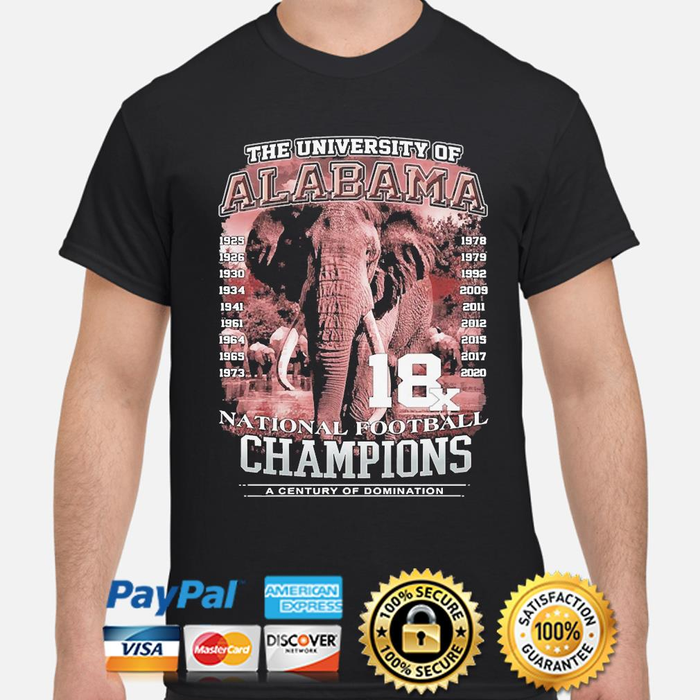 The university of alabama national football champions a century of domination shirt
