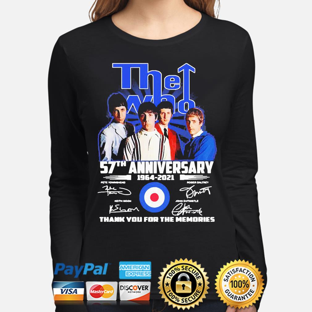 The Who 57th anniversary thank you for the memories signatures s long-sleeve