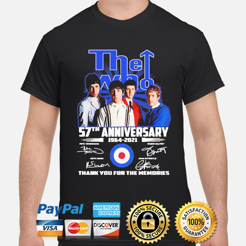 The Who 57th anniversary thank you for the memories signatures shirt