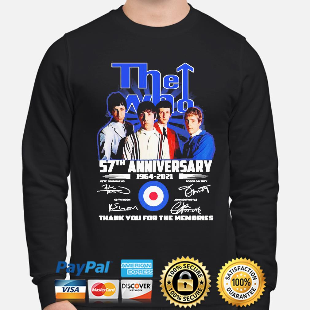 The Who 57th anniversary thank you for the memories signatures s sweater